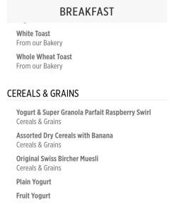 Sabatinis breakfast menu