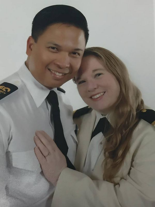 Stephanie & Christian in officer uniforms