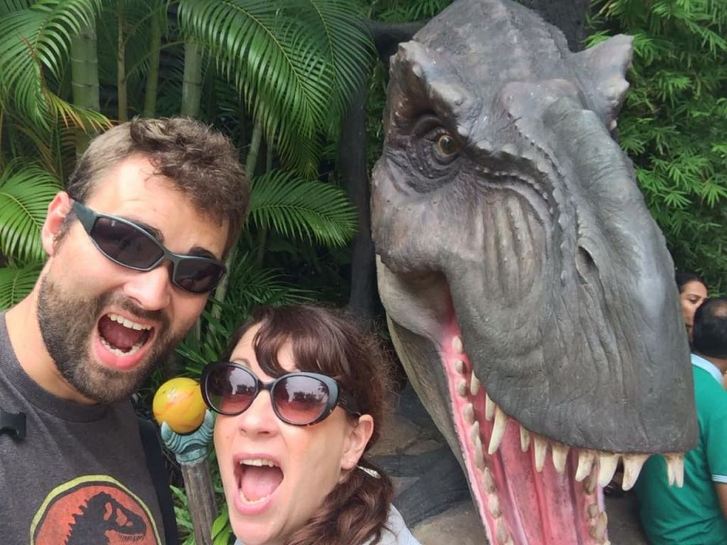 Us out in Universal Studios in Singapore at the Jurassic World ride before Nick prosposed