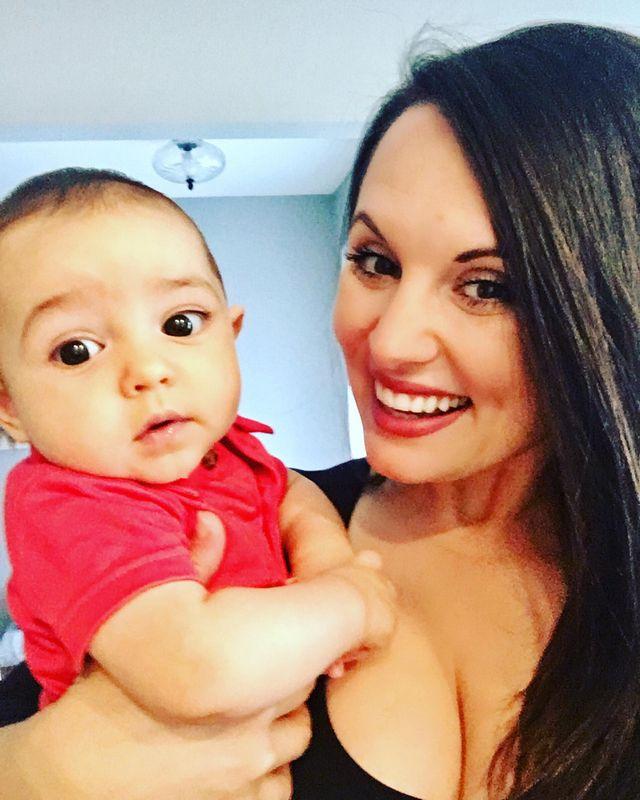 Erika & baby Ezra on ship
