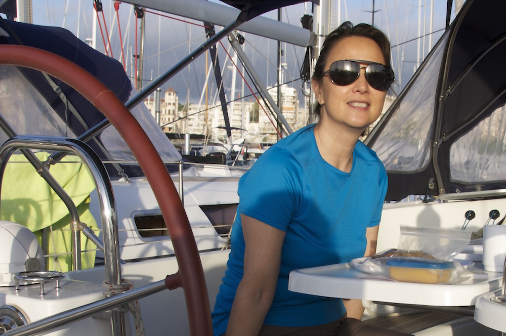 Breakfast in the cockpit at Real Club Nautico di Palma in Mallorca. Cruising Attitude Sailing Blog. - Discovery 55