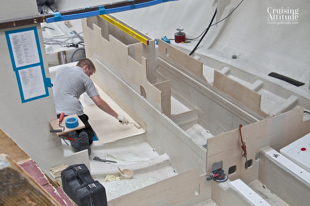 Beginning stages of building Freja's interior. | Cruising Attitude Sailing Blog - Discovery 55