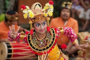 Young Balinese Girl performs a welcome dance in a 'full mooon ceremony in Ubud.