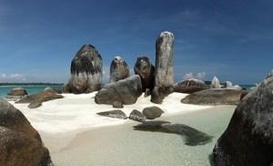 Batu Berlayar Island with natural rock formation, Belitung