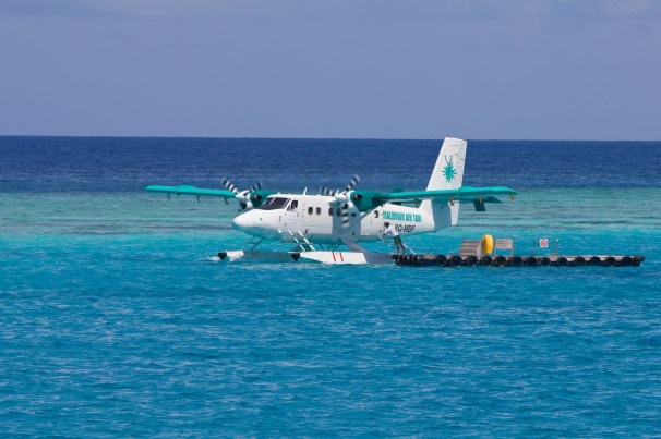 Maldives Soneva Fushi Seaplane ready for departure