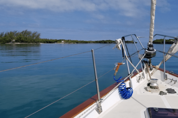Calm anchorage at Garbutts Caye