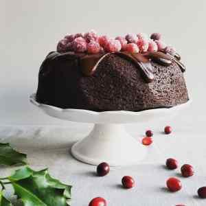 Vegan Cranberry Chocolate Fudge Bundt Cake with Chocolate Ganache and Sugared Cranberries