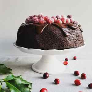 Vegan Cranberry Chocolate Fudge Bundt Cake with Chocolate Ganache on white cake stand