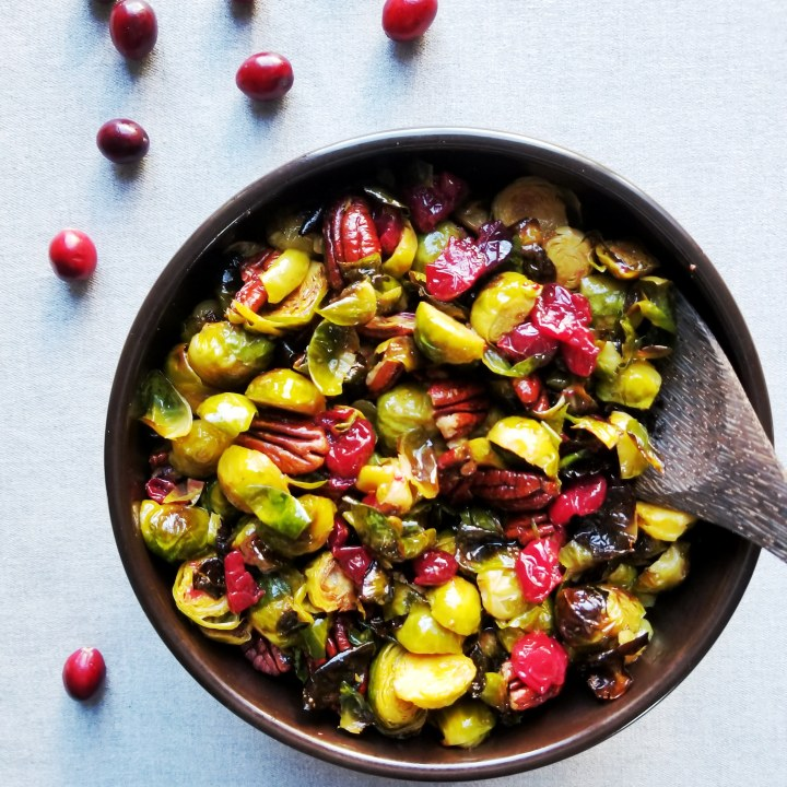 Roasted Cranberries, Brussels Sprouts and Pecans with Maple Mustard Dressing