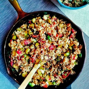 Apple Sage Vegan Sausage Roasted Brussels Sprouts Stir-fry in cast iron skillet