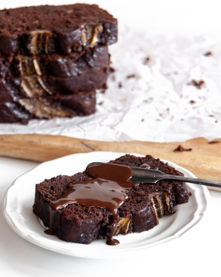 Slice of Vegan Triple Chocolate Banana Bread served with Chocolate Spread
