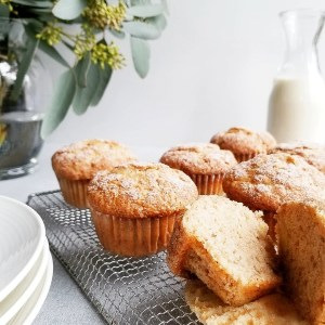 Vegan Snickerdoodle Banana Muffins on cooling rack