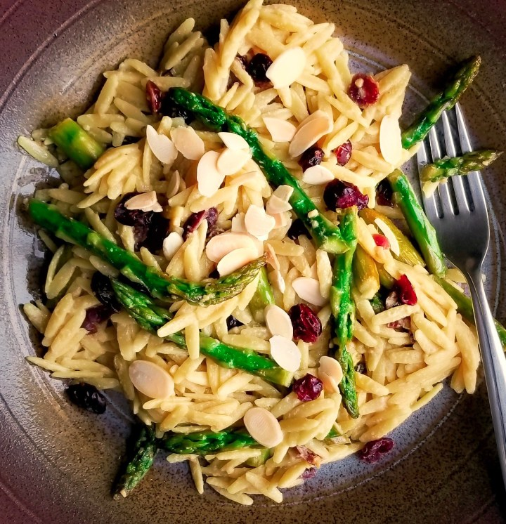 Lemon Orzo with Asparagus, Cranberries and Almonds