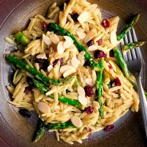 Plate of Lemon Orzo with Asparagus, Cranberries and Almonds
