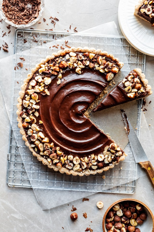 Chocolate Hazelnut Tart – Vegan & GF Option