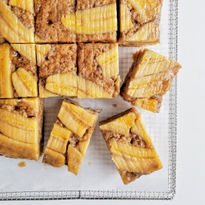 Vegan Upside Down Caramel Banana Sheet Cake, sliced into squares