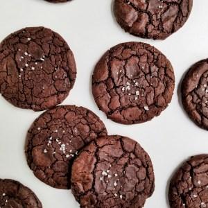 Vegan Truffle Brownie crackle Cookies sprinkled with coarse salt