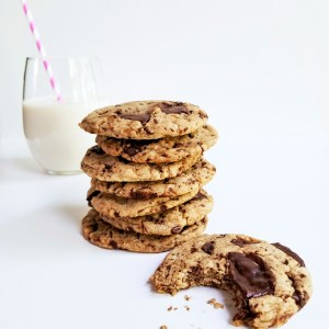 Ultimate Chocolate Chunk Cookies served with a glass of plant-based milk