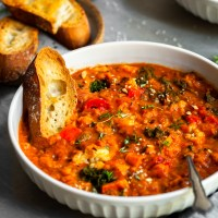Roasted Garlic Vegetable Stew with Red Lentils & Tomatoes