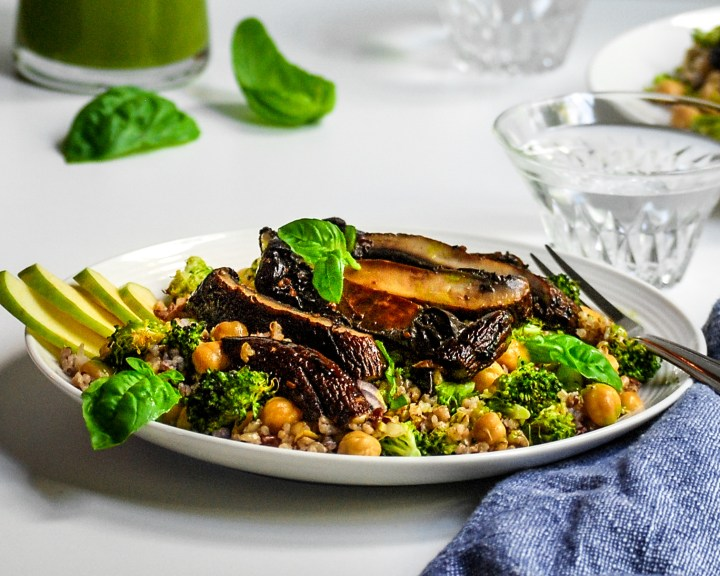 Portobello, Broccoli, Chickpea and Grain Salad with Fresh Lemon Basil Dressing