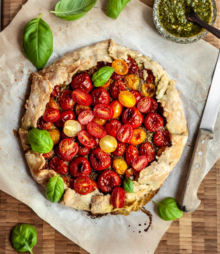 Vegan Cherry Tomato Galette with Pesto and Cashew Cheese