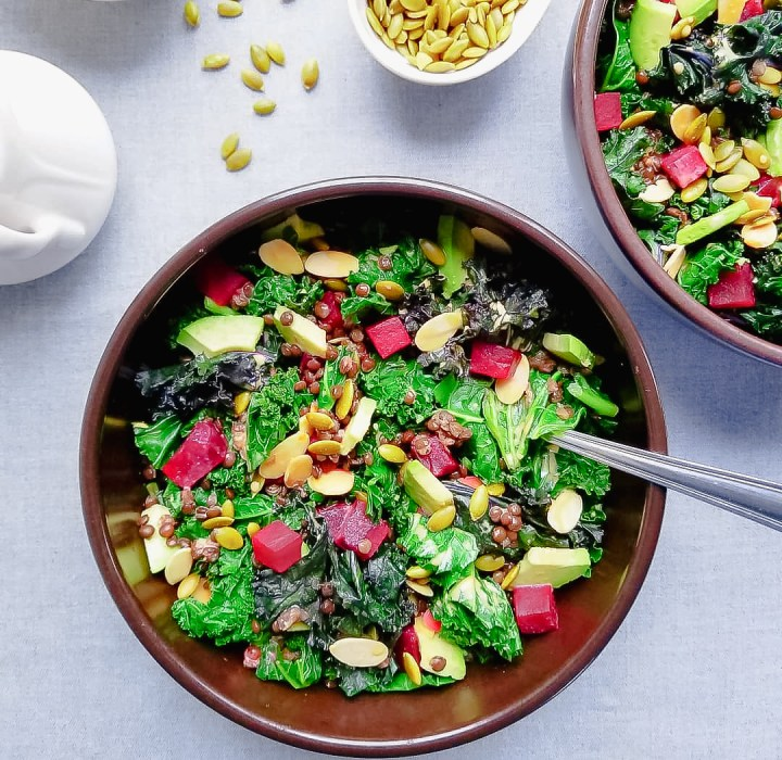 Roasted Beet, Kale and Lentil Salad with Golden Dressing, Avocado, Toasted Almonds and Pepitas