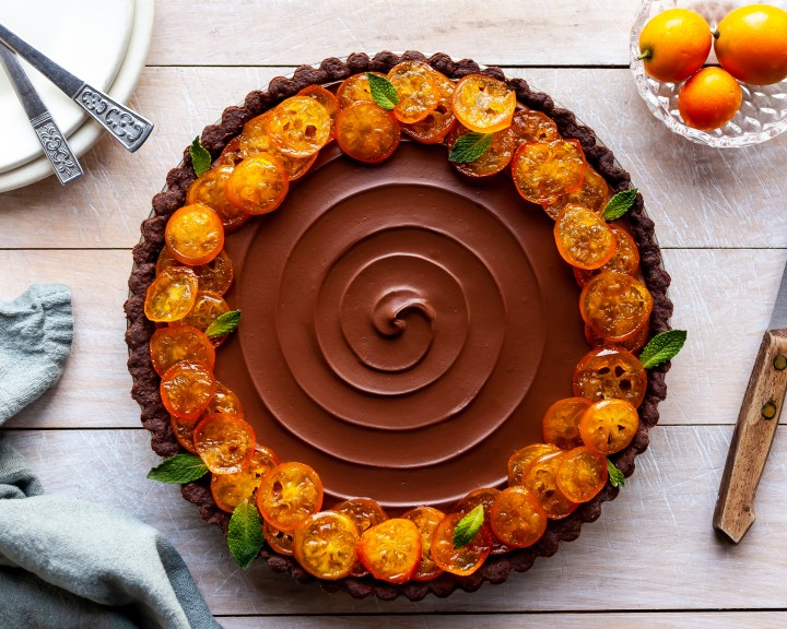 Vegan Chocolate Orange Truffle Tart with Candied Kumquats