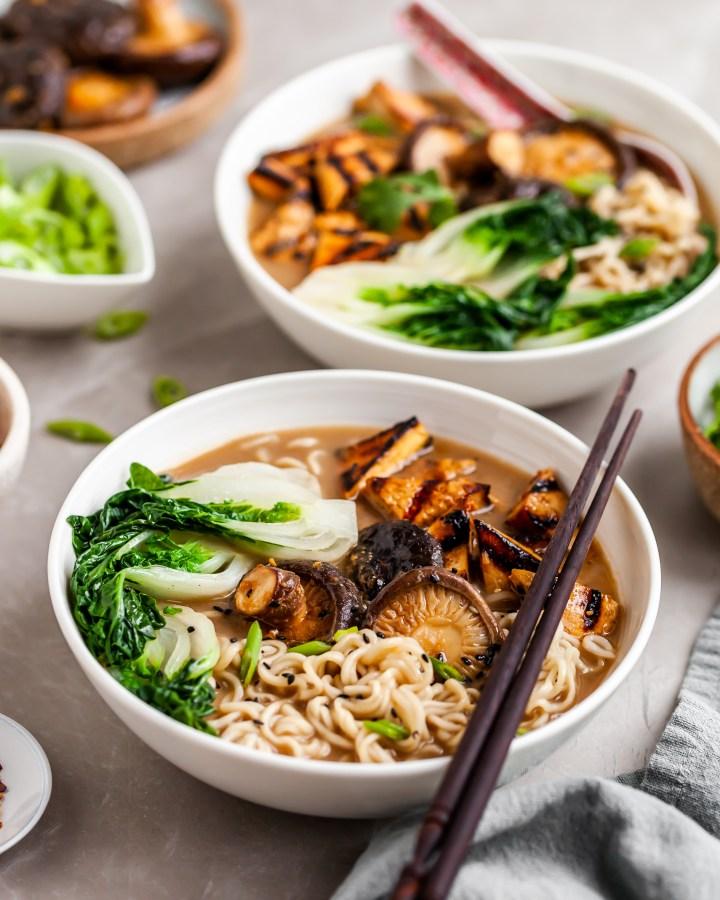 Vegan Mushroom Miso Ramen served with Grilled Tofu, Shiitakes and Baby Bok Choy