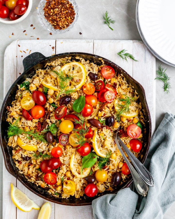 One-Skillet Baked Greek Lemon Chickpeas and Rice