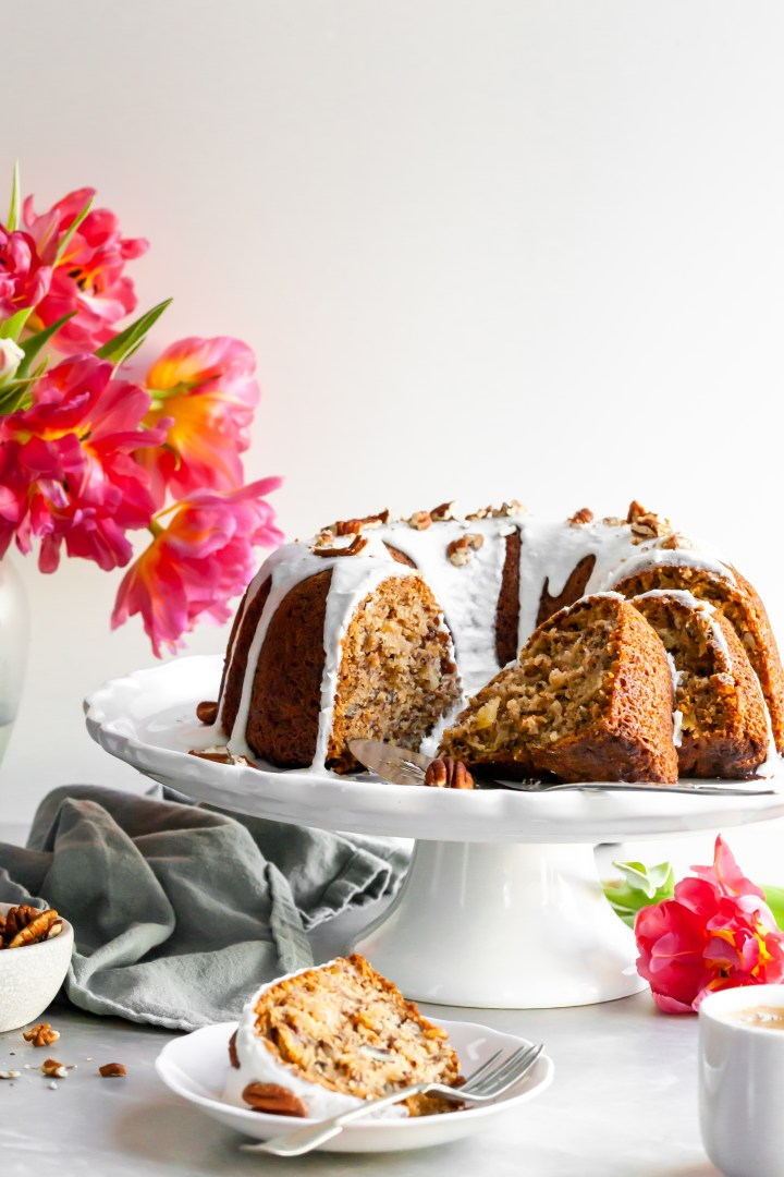 Vegan Hummingbird Bundt Cake with Vanilla Glaze