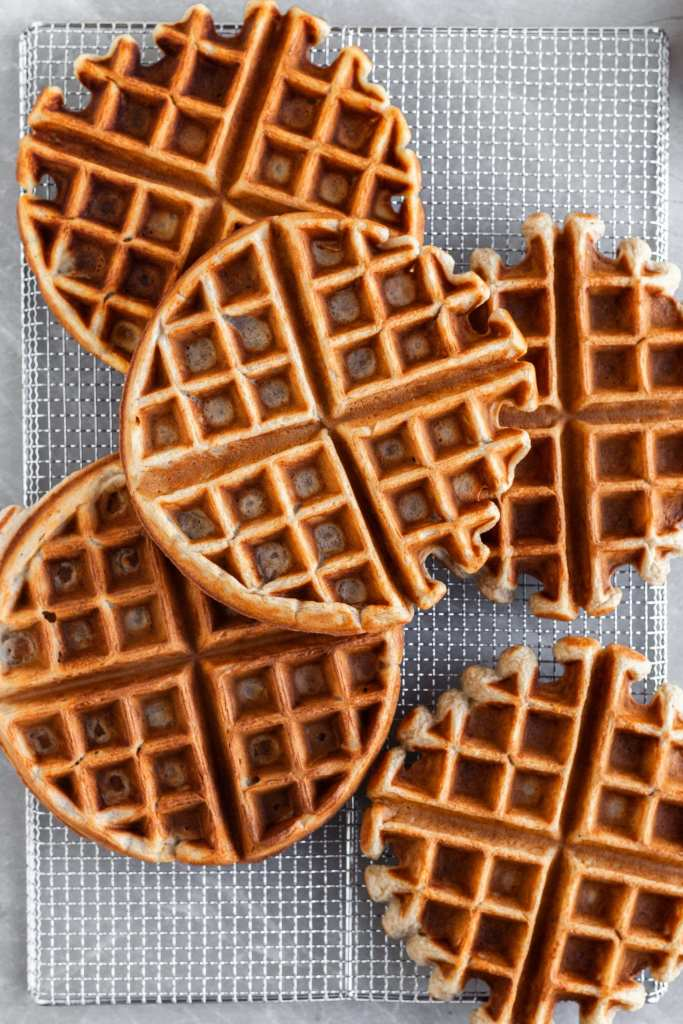 Fresh Vegan Banana Waffles on a cooling rack, ready to be served