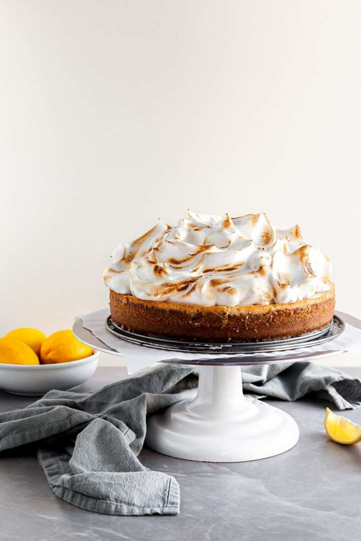 Vegan Lemon Meringue Baked Cheesecake