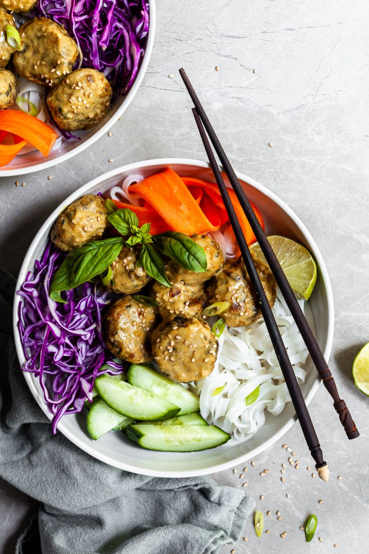 Thai Chickpea Meatballs & Coconut Curry Bowls – Vegan & GF
