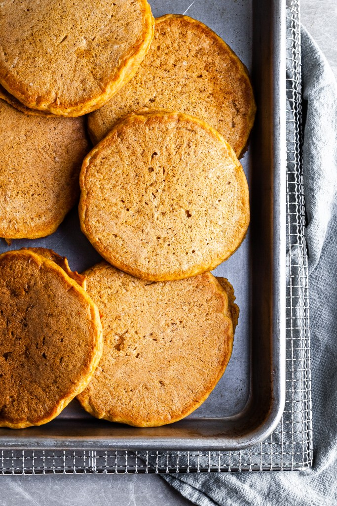 Baking pan filled with freshly made pancakes