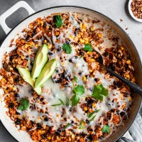 Easy Vegan Mexican Rice Casserole - Oven Bake or Instant Pot