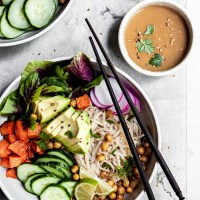 Roasted Sweet Potato Chickpea Noodle Bowls with Sesame Ginger Sauce