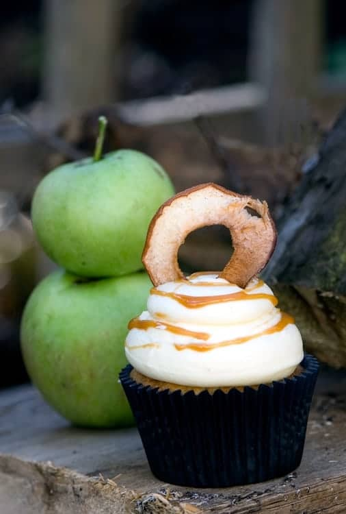 Crumbs and Corkscrews - Caramel Toffee Apple Cupcakes