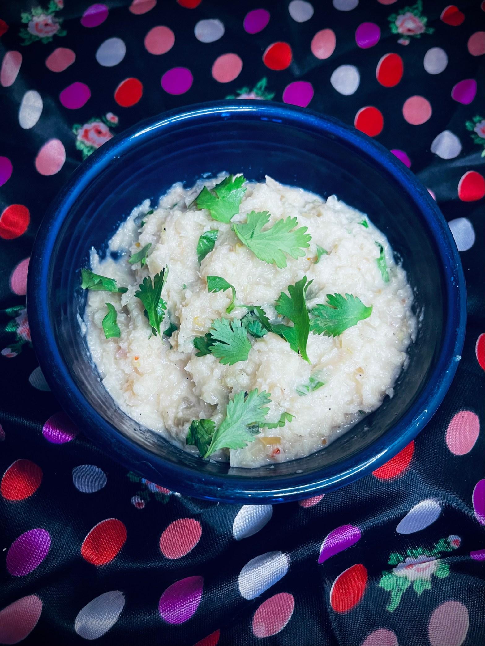 cauliflower rice garnished with cilantro