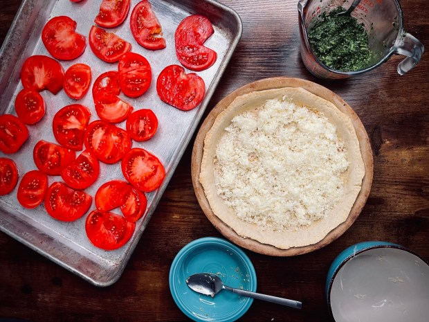 layer 2 of the tomato tart