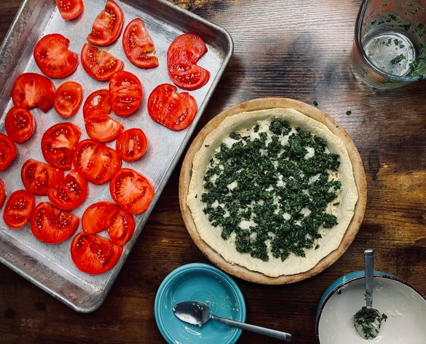 layer 3 tomato tart