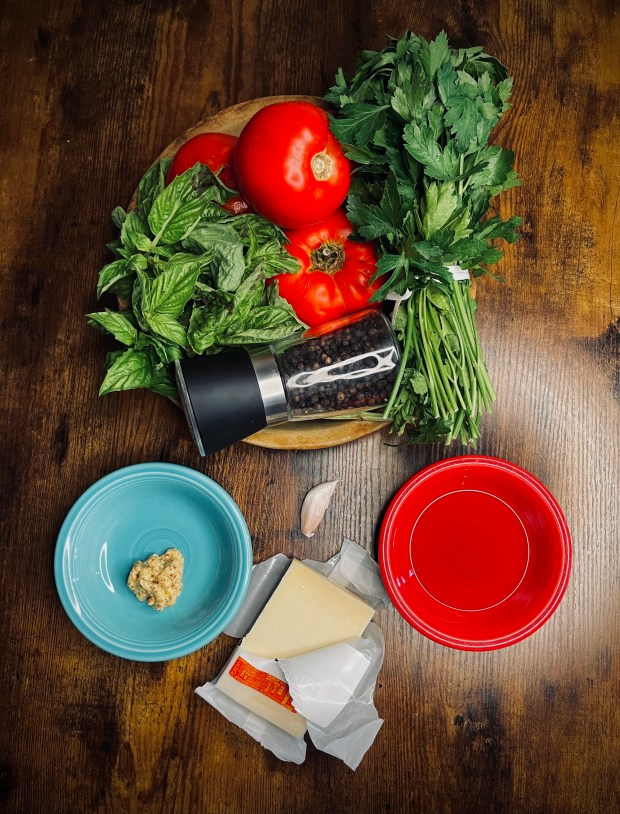 super ripe tomatoes and tart filling ingredients