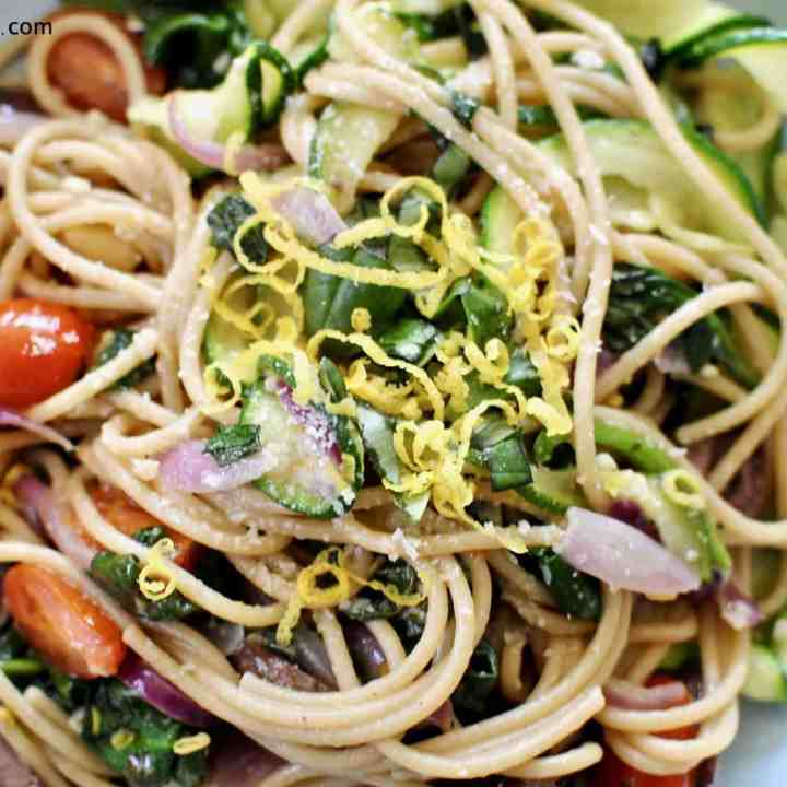 A delicious light Spring/Summer lunch with plenty of veggies, olive oil and parmesan. It's quick, easy and delicious.