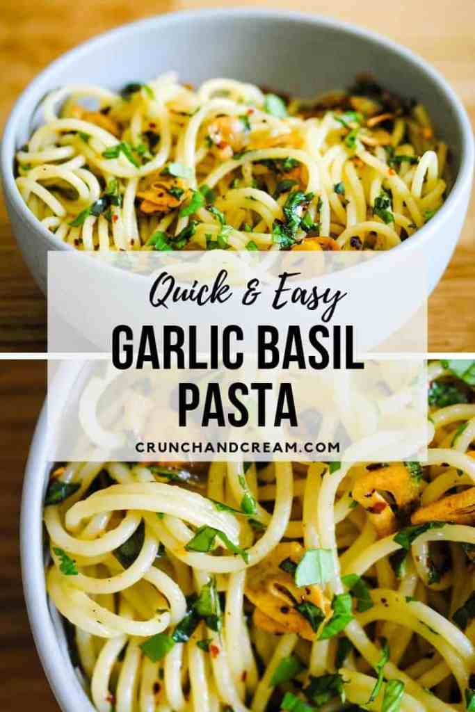 A simple and quick garlic and basil pasta recipe with plenty of flavour. It's cheap, easy, veggie-friendly and perfect for when you need an easy weeknight dinner and don't want to turn the oven on! Plus, it's single-serving so you don't have to worry about leftovers.