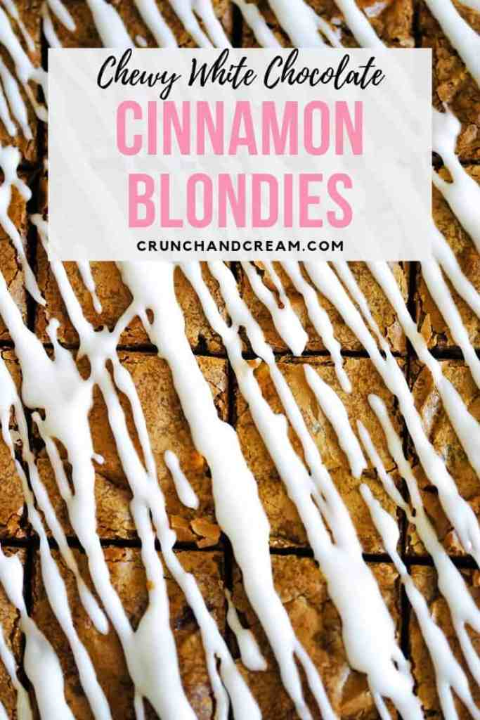 These blondies are perfectly chewy, fudgy and full of white chocolate chips - the ultimate snack! They're even drizzled with a frosting like cinnamon rolls! #whitechocolateblondies #cinnamonblondies #chewyblondies #baking #recipe