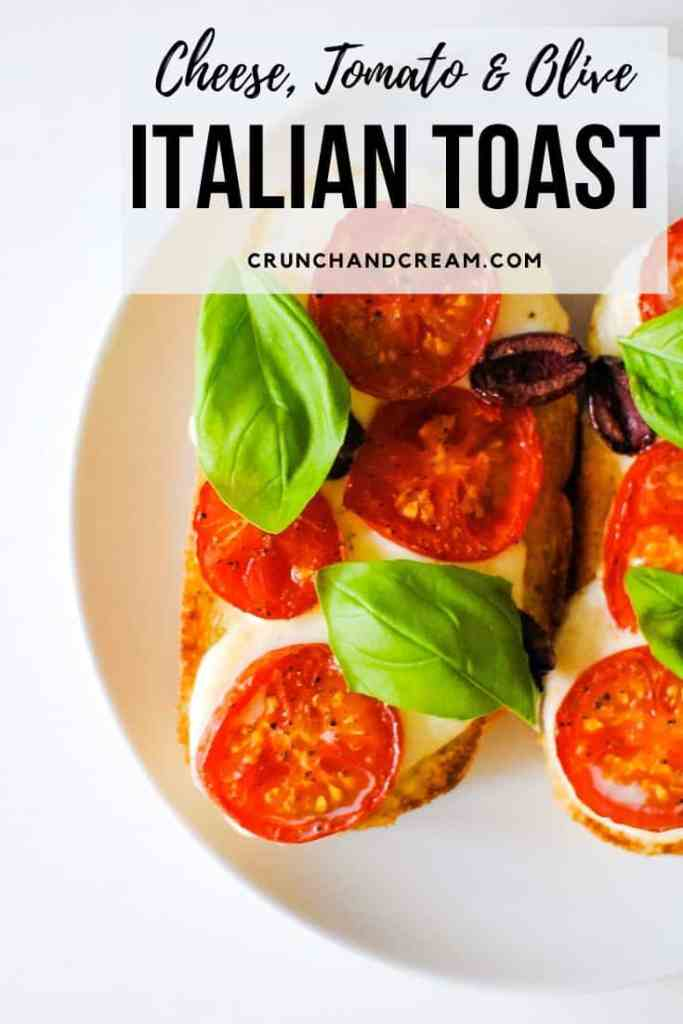 This easy Italian toast with tomatoes and basil is a perfect quick and easy lunch for one. It takes only 10 minutes and 5 ingredients to put together - perfect for weekends or even as a light weeknight dinner!