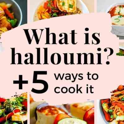 different halloumi recipe photos in a grid around the title of the post