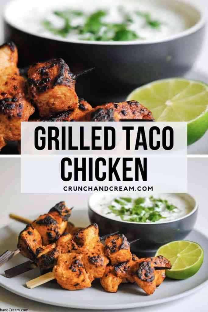 These grilled taco chicken skewers are spicy, tender and juicy - get perfectly cooked chicken every time with this little marinade hack! Plus, taco spice chicken is cheap and easy to make - only a handful of common ingredients required!