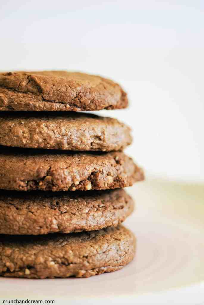 a stack of nutella cookies on a plate