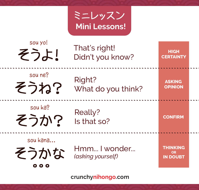 Understanding Variants Of Sou Desu Crunchy Nihongo