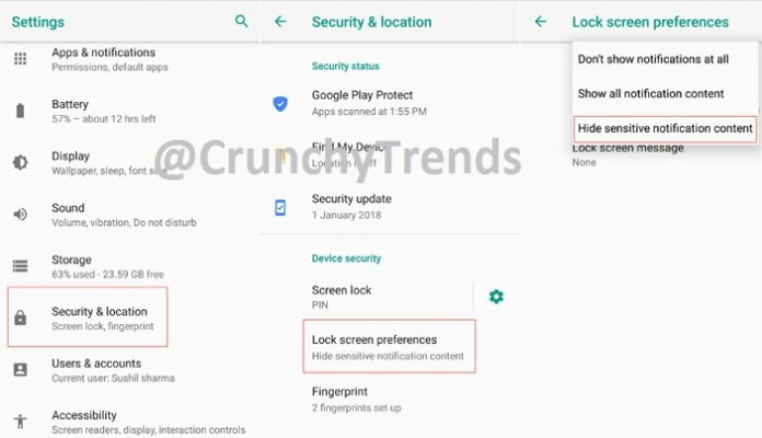 Change Screen Lock Preferences of Android Device